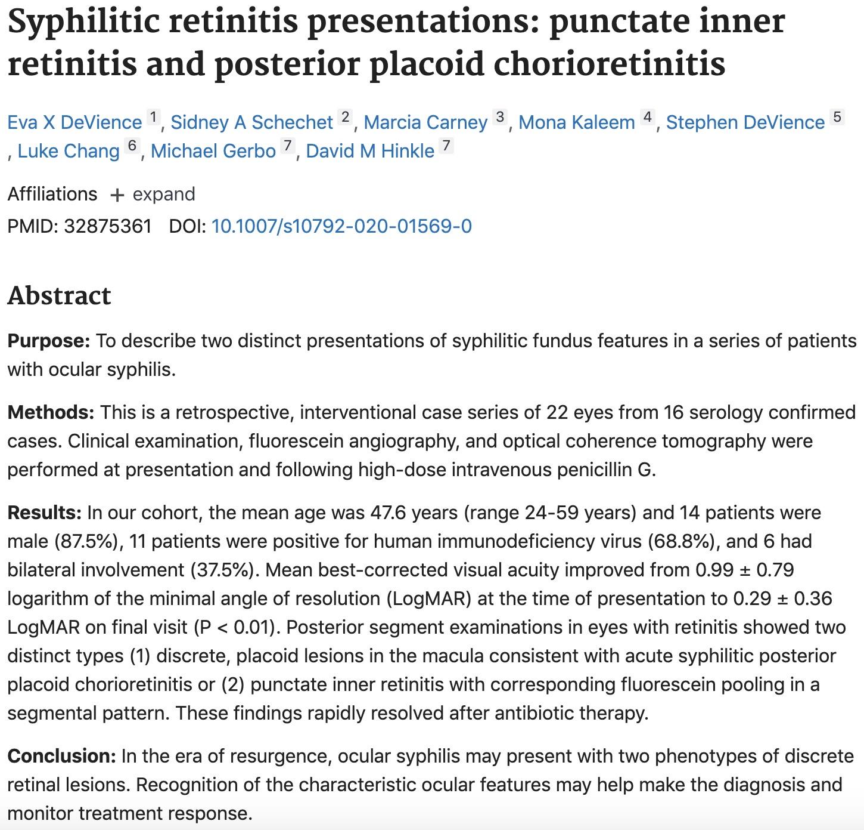 Syphilic Retinitis Presentation